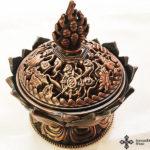 bronze lotus incense burner füstölő tartó 4