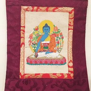 Gyógyító Buddha nepáli kis thangka lokta papíron