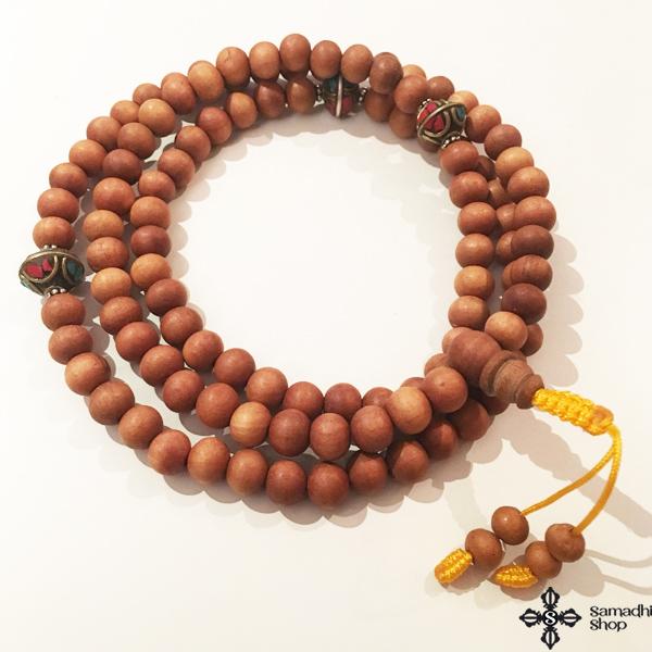 Szantálfa mala tibeti gyöngy osztóval