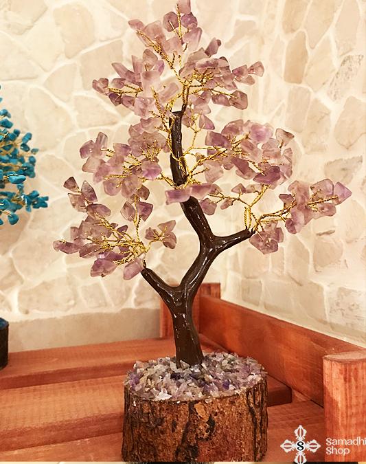 Ametiszt féldrágakő szerencsefa / életfa (180 kristályos)