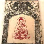 Nepáli Lampion Sakjamuni Buddha ábrázolással fehér színben