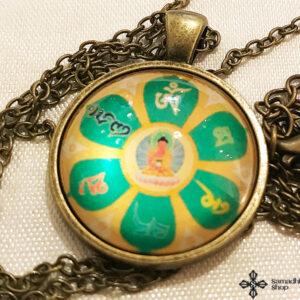 Amitabha Buddha OM Mani Padme HUM mandalával üveg függős bronz nyaklánc
