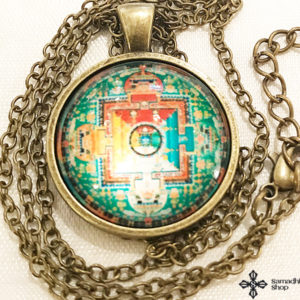 Buddhista mandala üveg függős nyaklánc