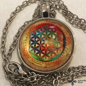 Mandala üveg függős nyaklánc s12821