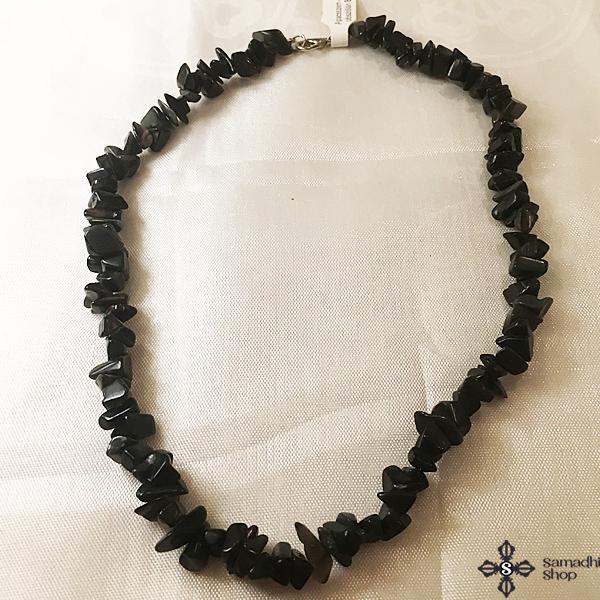 Obszidián féldrágakő nyaklánc 40cm