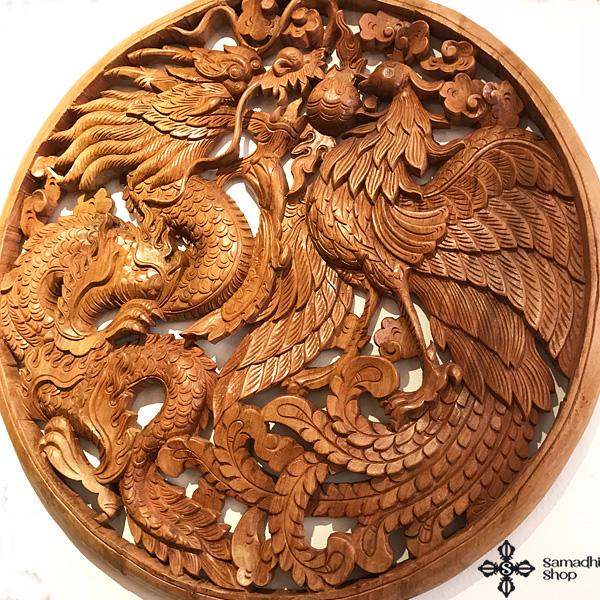 Sárkány és Főnix óriás teak fa faragvány Burmából 1
