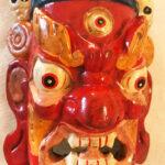 Fából faragott nepáli Mahakála maszk 10
