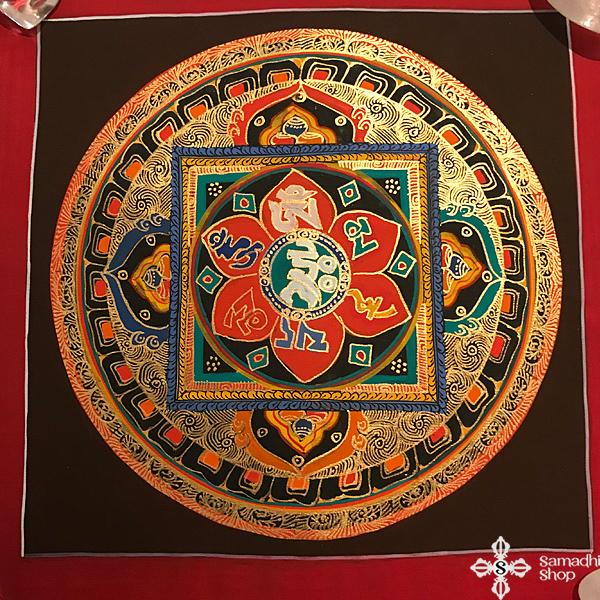 s14271 nepáli tibeti buddhista mandala festmény tibetan buddhist mandala painting