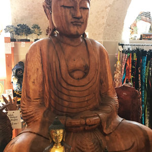 Buddha szobor mahagóni fából faragva 5