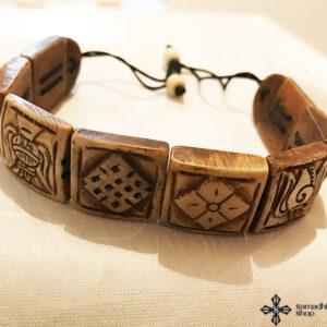 Tibeti 8 szerencse szimbólumos csont karkötő 2