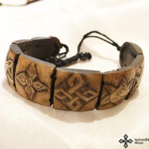 Tibeti 8 szerencse szimbólumos csont karkötő 3