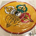Hímzett nepáli oltárterítő terítő dupla dordzse szimbólummal 2
