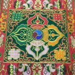 Hímzett nepáli oltárterítő terítő dupla dordzse szimbólummal 3