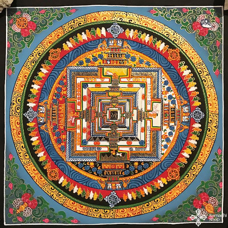 Kalacsakra mandala kézzel festett nepáli festmény 1