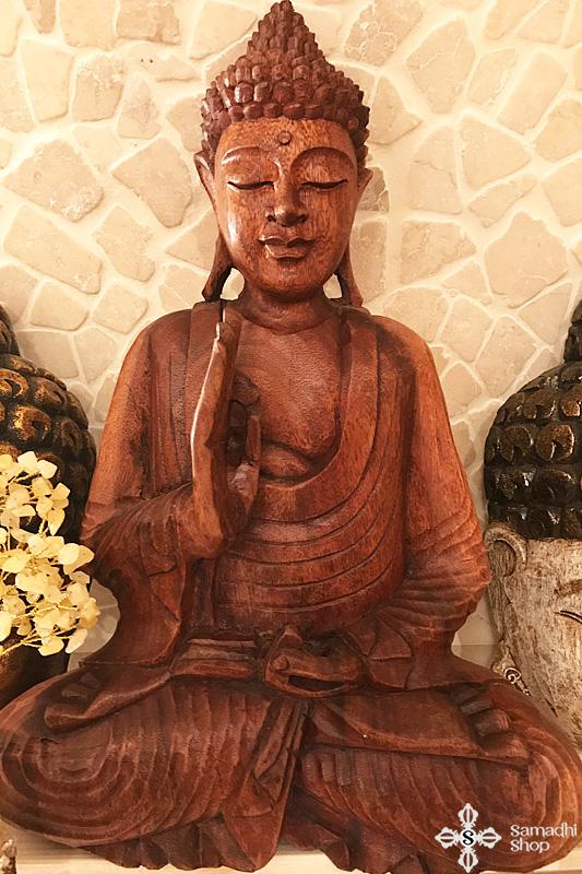 Buddha szobor mahagóni fából faragva 41 cm magas 2