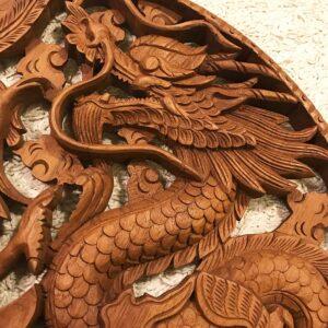 Hatalmas sárkány főnix teak fa faragás 2