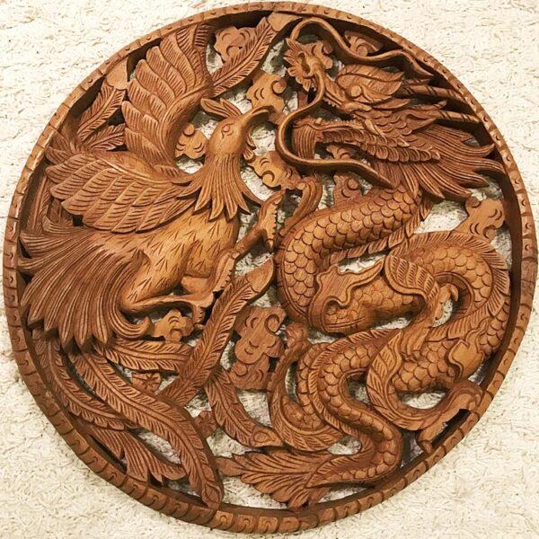 Hatalmas sárkány főnix teak fa faragás