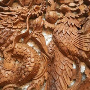 Sárkány főnix teak fa faragás falikép 2