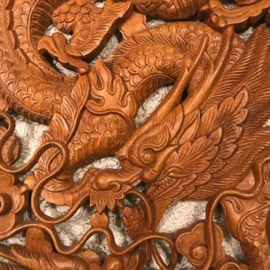 Sárkányok teak fa falikép 2