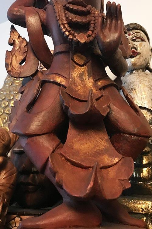 Védelmező Nat szellem teak fa szobor 12