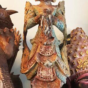 Védelmező Nat szellem teak fa szobor0