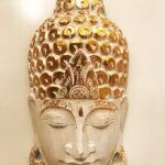 Buddha fej faragás fehér nagy méretű