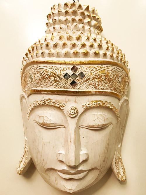 Buddha maszk fej fafaragás nagy méretű