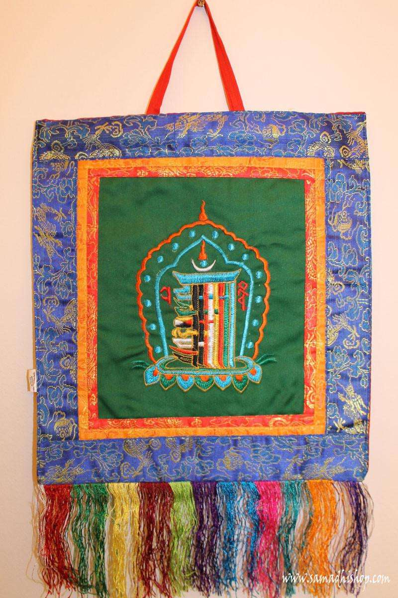 Kalachakra symbol wall hanging (green background)
