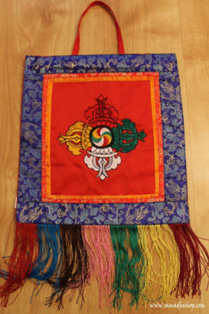 Double Dorje Symbol Wall Hanging (red background)