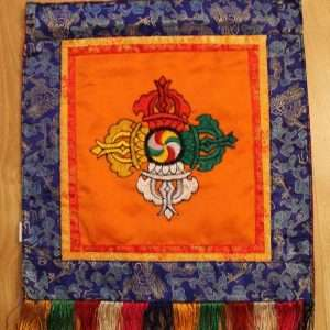 Double Dorje symbol wall hanging (orange background)