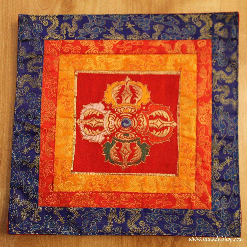 Altar cloth with Double Dorje symbol (red background)
