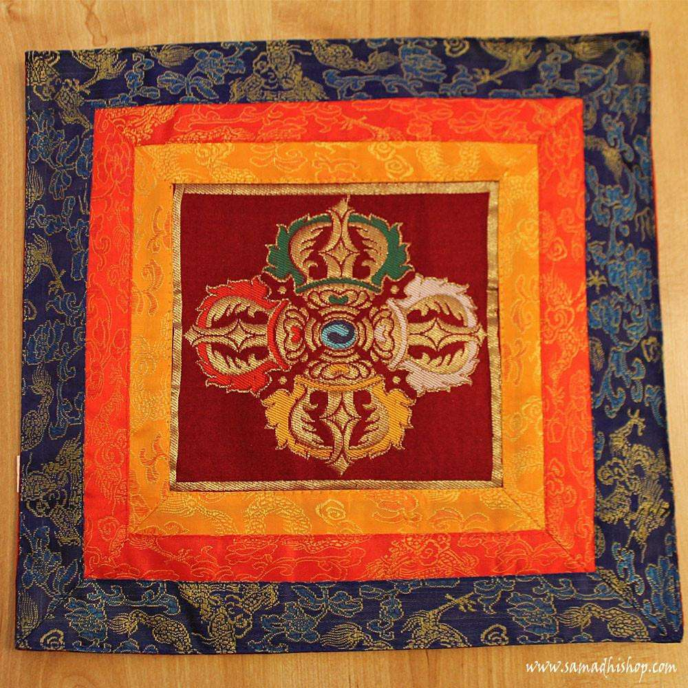 Altar cloth with Double Dorje symbol (dark red background)