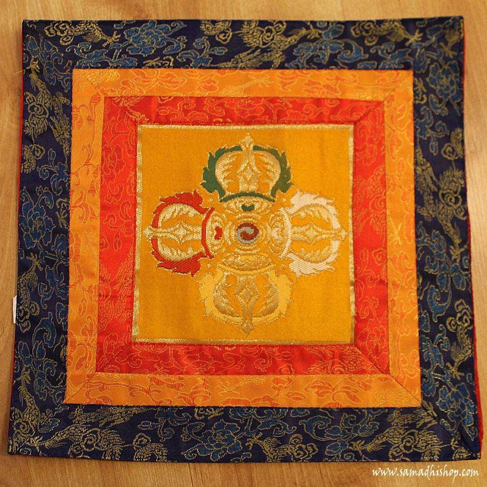 Altar cloth with Double Dorje symbol (yellow background)