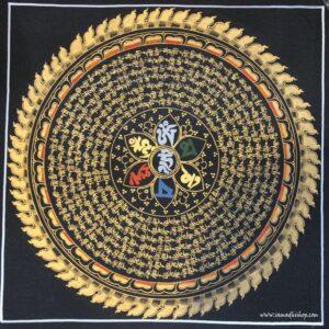 OM Mani Padme Hum mantra mandala thangka painting 33x33 cm