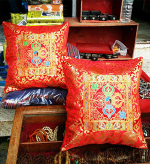 Tibetan Double Dorje Silk Brocade Cushion Cover - Red color