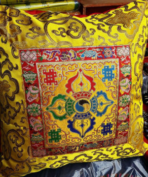 Tibetan Double Dorje Silk Brocade Cushion Cover - Yellow color