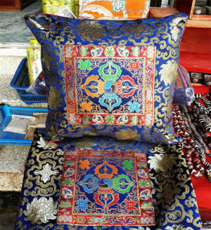 Tibetan Double Dorje Silk Brocade Cushion Cover - Blue color