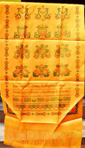 Tibetan Yellow Silk Khata / Khada / Offering Scarf
