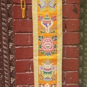 Tibetan Eight Auspicious Symbol wall hanging (yellow)