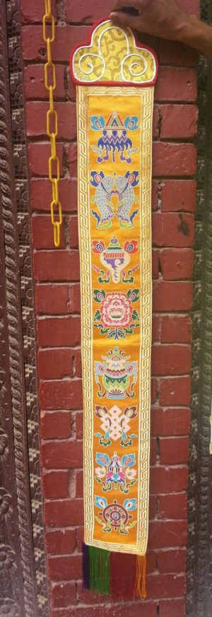 Tibetan Eight Auspicious Symbol wall hanging (yellow)