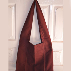 Tibetan Dark Maroon Cotton Shoulder Monk Bag