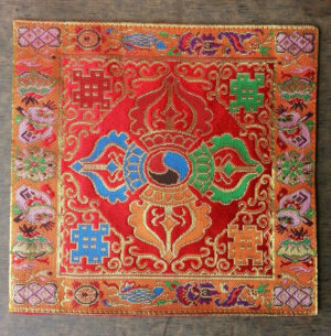 Altar Cloth With Buddhist Double Dorje Symbol (Red)