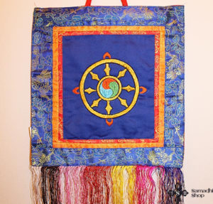 Dharma Wheel Symbol Wall Hanging (blue background)