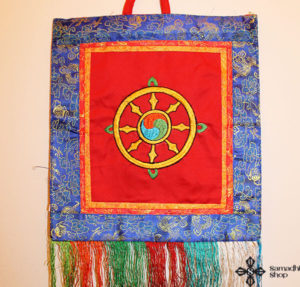 Dharma Wheel Symbol Wall Hanging (red background)
