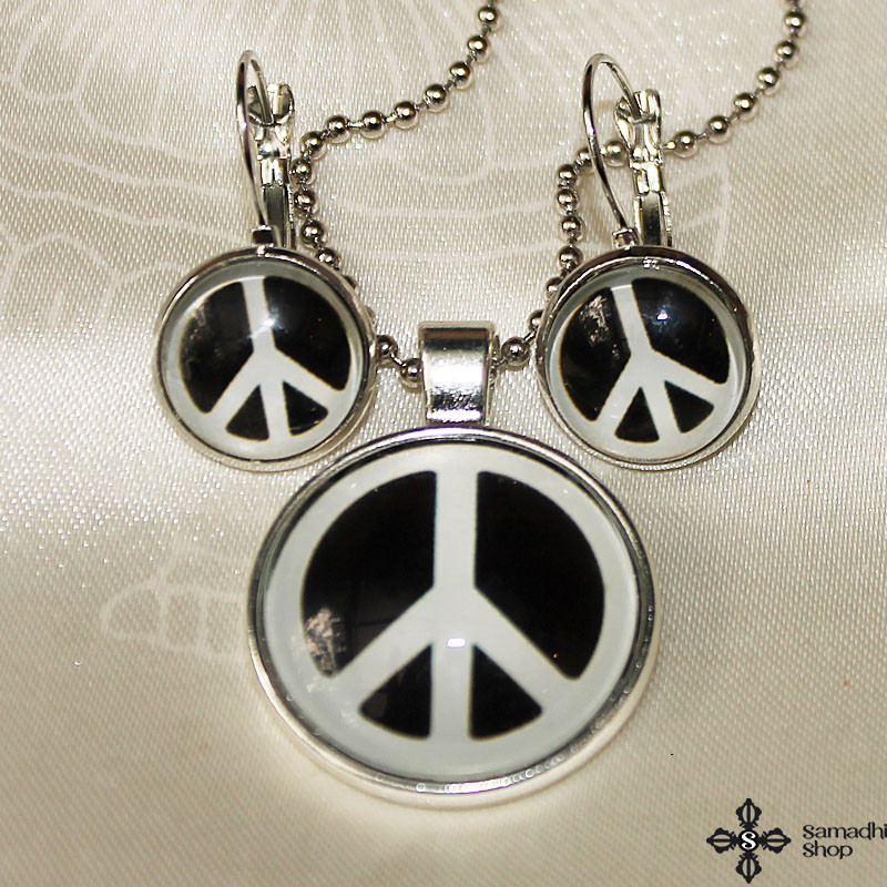 Peace Symbol Glass Pendant Necklace + Glass Earrings