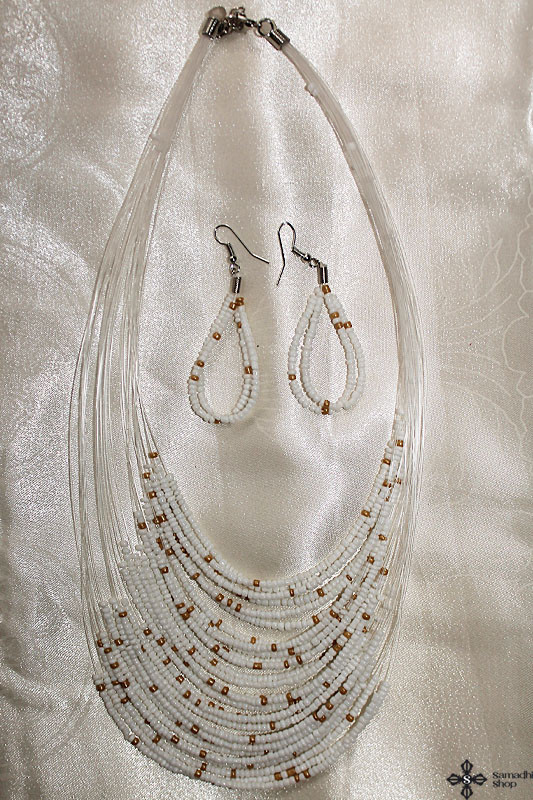 Bead Necklace + Earrings Set (White)