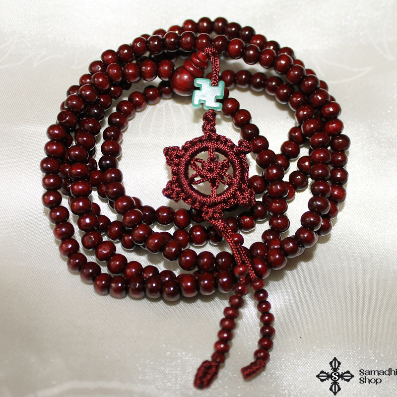 Buddhist 216 Prayer Beads Wooden Mala Necklace (6 mm)
