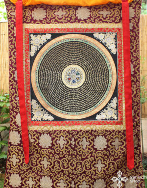 HUGE Buddhist Mantra Mandala Thangka (46 inches / 115 cm)