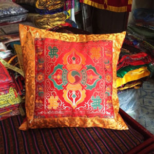 p 7402 Tibetan Double Dorje Silk Brocade Cushion Cover Gold and Red 1