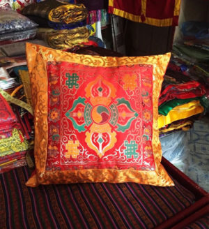 Tibetan Double Dorje Silk Brocade Cushion Cover - Gold and Red color